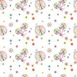 Het naadloze kleurrijke leuke vectorpatroon van krabbelfietsen vector illustratie
