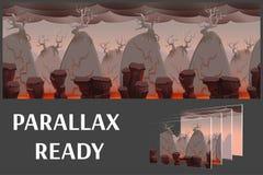Het naadloze landschap van de beeldverhaalaard met platform, vector oneindige achtergrond met gescheiden lagen royalty-vrije illustratie