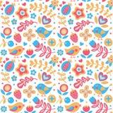 Het naadloze leuke de lente bloemenpatroon maakte met bloemen, vogels, installaties, aardbei, kers, bessen, bladeren, aard stock illustratie