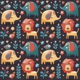 Het naadloze leuke die patroon met olifanten, leeuw, vogels, installaties, wildernis, bloemen, harten wordt gemaakt, doorbladert, Stock Fotografie