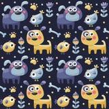 Het naadloze leuke patroon maakte met honden, vogels, bloemen, been, poot, installaties Stock Afbeelding