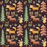 Het naadloze leuke patroon van de winterkerstmis maakte met vos, konijn, paddestoel, Amerikaanse elanden, struiken, installaties, vector illustratie