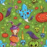 Het naadloze leuke patroon van Halloween Royalty-vrije Stock Afbeeldingen