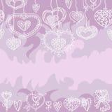 Het naadloze lilac patroon van Valentine ` s Royalty-vrije Stock Foto's