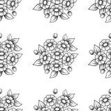 Het naadloze madeliefje bloeit zwarte achtergrond royalty-vrije illustratie