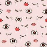 Het naadloze modieuze patroon van open en gesloten ogen, lippen, hoort Stock Foto