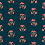 Het naadloze mooie bloemenpatroon in leuk in koraal bloeit op de marineachtergrond vector illustratie