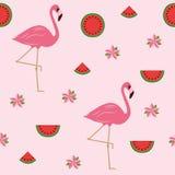 Het naadloze ontwerp van de patroon tropische zomer met flamingo'sbloemen en watermeloen stock illustratie
