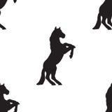 Het naadloze paard van het patroonsilhouet Royalty-vrije Stock Fotografie
