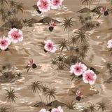 Het naadloze paradijs van de het eilandzomer van de patroon Uitstekende stemming monotone beige met bloeiende hibiscus bloeit, pa royalty-vrije illustratie