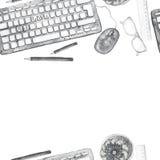 Het naadloze patroon als achtergrond van voorwerpen schilderde waterverfkantoorbenodigdheden, hulpmiddelen, worktable op een them Royalty-vrije Stock Afbeelding