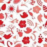 Het naadloze patroon eps10 van de lentepictogrammen Stock Afbeelding