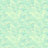 Groen hand-drawn patroon, golvenachtergrond. vector illustratie