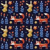 Het naadloze patroon maakte met vos, konijn, hazen, bloemen, dieren, planten, harten Stock Fotografie