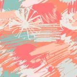 Het naadloze patroon met abstracte waterverfvlekken, bloeit, slagen de uit de vrije hand van verfborstels royalty-vrije illustratie