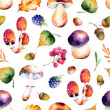 Het naadloze patroon met de herfst gaat weg, bloeit, vertakt zich, bessen, eikels Royalty-vrije Stock Fotografie
