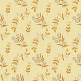Het naadloze patroon met de herfst gaat weg en bloeit Stock Foto