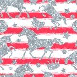 Het naadloze patroon met eenhoorns en het zilver schitteren textuur Royalty-vrije Stock Afbeelding