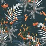 Het naadloze patroon met exotische tropische palmen en lelies bloeit op de donkere achtergrond vector illustratie