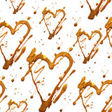 Het naadloze patroon met glanst schittert hart en punten Het goud trekt vlekken Met de hand gemaakt Geïsoleerdj op witte achtergr Stock Foto's