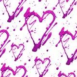 Het naadloze patroon met glanst schittert hart en punten Het gouden roze trekt vlekken Met de hand gemaakt Geïsoleerdj op witte a Stock Foto's