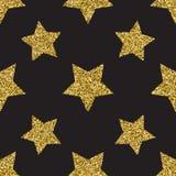 Het naadloze patroon met goud schittert geweven sterren op de donkere achtergrond royalty-vrije illustratie