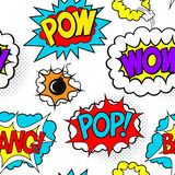 Het naadloze patroon met grappige toespraak borrelt flarden, POW, WAUW, KLAP stock illustratie