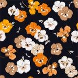 Het naadloze patroon met kleurrijke viooltjebloemen in de tuin wu=ith stuntelt bijen en libel in vectorillustratieontwerp dor royalty-vrije illustratie