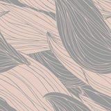 Het naadloze patroon met krullende whorls, geweven hand getrokken overzichtsgolven en bloemblaadjes verlaat aders vector illustratie