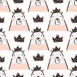 Het naadloze patroon met leuk meisje draagt berenprinses Perfectioneer voor stof, textiel Het kan voor prestaties van het ontwerp Royalty-vrije Stock Foto