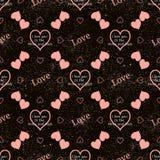 Het naadloze patroon met liefde en het hart op zwarte achtergrond I houden van u aan de maan en de rug, achtergrondontwerp Stock Fotografie