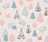 Het naadloze patroon met Noordamerikaanse Indische tipihuizen met stammenornament, elementen van bos en bergen, draagt Stock Foto's