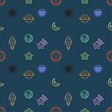 Het naadloze patroon met reeks van ruimte en melkweg heeft pictogramontwerp, donkere achtergrond, vector bezwaar vector illustratie