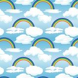 Het naadloze patroon met regenboog en wolken op een blauwe achtergrond Stock Afbeelding