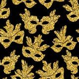Het naadloze patroon met schittert Carnaval-masker stock illustratie