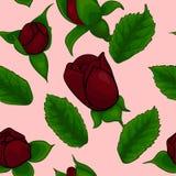 Het naadloze patroon, nam en bladeren toe Royalty-vrije Stock Afbeelding