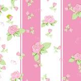 Het naadloze patroon nam op roze toe Stock Foto