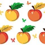 Het naadloze patroon van appelen De achtergrond van de herfst Rode en oranje het bladclose-up van de kleurenKlimop stock illustratie