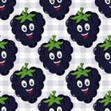 Het Naadloze Patroon van beeldverhaalblackberry Stock Foto's