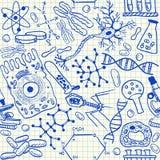 Het naadloze patroon van biologiekrabbels stock illustratie