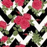 Het naadloze patroon van bloem rode rozen met horizontale zigzag Stock Fotografie