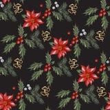 Het naadloze patroon van borduurwerkkerstmis met rode bloemen, pijnboom en maretak Stock Afbeeldingen