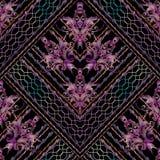 Het naadloze patroon van het borduurwerktapijtwerk grunge Royalty-vrije Stock Foto's