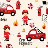 Het naadloze patroon van brandvechters Royalty-vrije Stock Fotografie