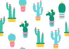 Het naadloze patroon van cactussen Royalty-vrije Stock Foto
