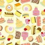 Het naadloze patroon van Cakes Stock Fotografie