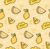 Het naadloze patroon van het citroenfruit in de vector van de kawaiistijl stock illustratie