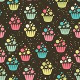 Het naadloze patroon van Cupcake Royalty-vrije Stock Fotografie