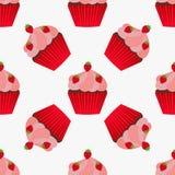 Het naadloze patroon van Cupcake Stock Foto