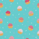 Het naadloze patroon van Cupcake Royalty-vrije Stock Afbeeldingen